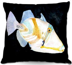 Decorative Outdoor Patio Pillow Cushion | Marley Ungaro - Deep Sea Life- Trigger Fish
