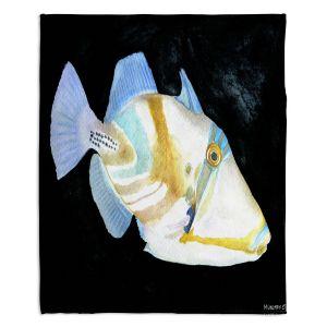 Decorative Fleece Throw Blankets | Marley Ungaro - Deep Sea Life - Trigger Fish