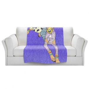 Artistic Sherpa Pile Blankets | Marley Ungaro - Doberman Indigo | dog collage pattern quilt