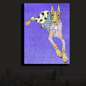 Nightlight Sconce Canvas Light | Marley Ungaro - Doberman Indigo | dog collage pattern quilt