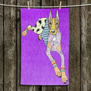 Unique Bathroom Towels | Marley Ungaro - Doberman Purple | dog collage pattern quilt