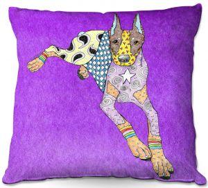 Decorative Outdoor Patio Pillow Cushion | Marley Ungaro - Doberman Purple | dog collage pattern quilt