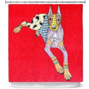 Premium Shower Curtains | Marley Ungaro - Doberman Red | dog collage pattern quilt