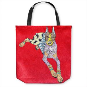 Unique Shoulder Bag Tote Bags | Marley Ungaro - Doberman Red | dog collage pattern quilt