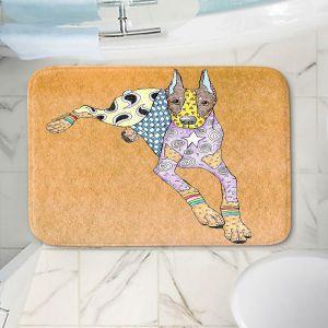 Decorative Bathroom Mats | Marley Ungaro - Doberman Tan | dog collage pattern quilt