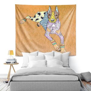 Artistic Wall Tapestry | Marley Ungaro - Doberman Tan | dog collage pattern quilt