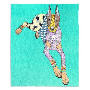 Artistic Sherpa Pile Blankets | Marley Ungaro - Doberman Turquoise | dog collage pattern quilt