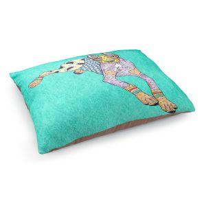 Decorative Dog Pet Beds | Marley Ungaro - Doberman Turquoise | dog collage pattern quilt