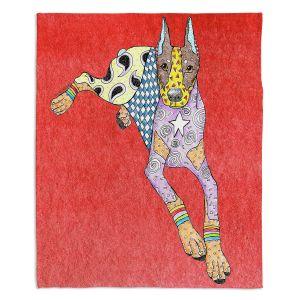 Decorative Fleece Throw Blankets   Marley Ungaro - Doberman Dog Watermelon