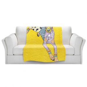 Artistic Sherpa Pile Blankets | Marley Ungaro - Doberman Yellow | dog collage pattern quilt