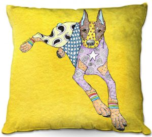 Decorative Outdoor Patio Pillow Cushion | Marley Ungaro - Doberman Yellow | dog collage pattern quilt