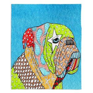 Artistic Sherpa Pile Blankets   Marley Ungaro English Bulldog Aqua