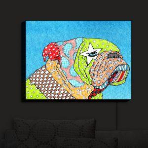 Nightlight Sconce Canvas Light | Marley Ungaro - English Bulldog Aqua
