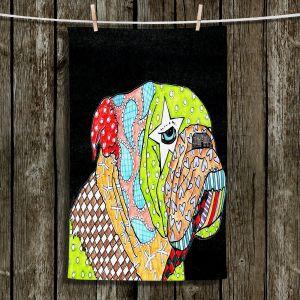 Unique Hanging Tea Towels | Marley Ungaro - English Bulldog Black | Abstract Colorful English Bulldog