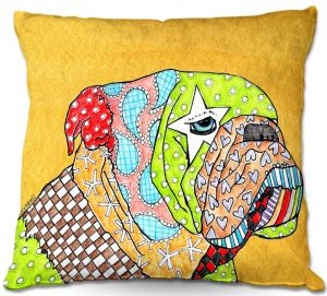 Throw Pillows Decorative Artistic | Marley Ungaro English Bulldog Gold