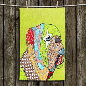 Unique Hanging Tea Towels | Marley Ungaro - English Bulldog Lime | Abstract Colorful English Bulldog