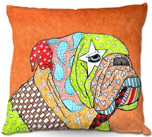 Throw Pillows Decorative Artistic | Marley Ungaro English Bulldog Orange