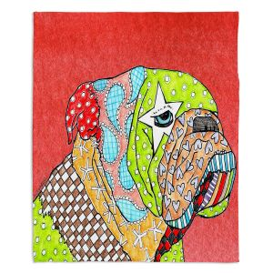 Unique Blanket Fleece Medium 50 x 60 from DiaNoche Designs by Marley Ungaro - English Bulldog Watermelon
