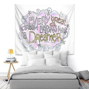 Artistic Wall Tapestry | Marley Ungaro - Every Great Dream | Text typography words