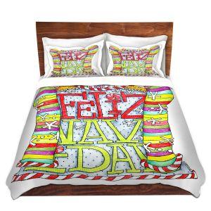 Artistic Duvet Covers and Shams Bedding | Marley Ungaro - Feliz Navidad | Christmas Quote