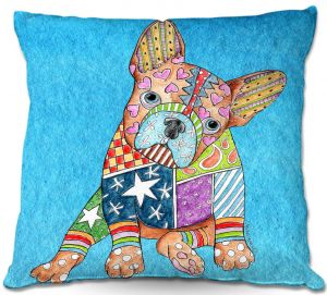 Decorative Outdoor Patio Pillow Cushion | Marley Ungaro - French Bulldog Aqua