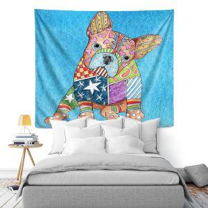 Artistic Wall Tapestry | Marley Ungaro French Bulldog Aqua