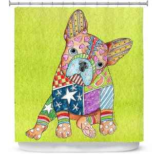 Unique Shower Curtain from DiaNoche Designs by Marley Ungaro - French Bulldog Lime