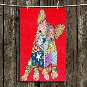 Unique Bathroom Towels | Marley Ungaro - French Bulldog Red