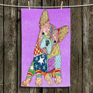 Unique Hanging Tea Towels | Marley Ungaro - French Bulldog Violet | Abstract Colorful French Bulldog