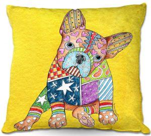 Decorative Outdoor Patio Pillow Cushion | Marley Ungaro - French Bulldog Yellow