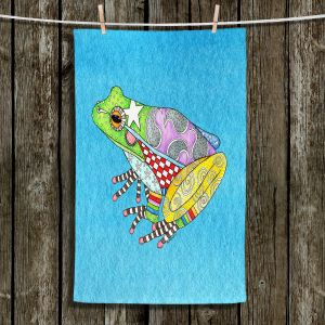 Unique Hanging Tea Towels | Marley Ungaro - Frog Aqua | Amphibian animal nature pattern abstract whimsical