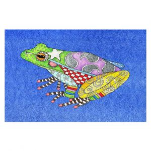 Decorative Floor Covering Mats | Marley Ungaro - Frog Blue | Amphibian animal nature pattern abstract whimsical