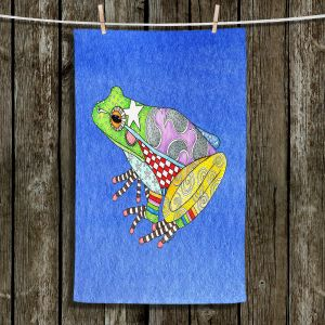 Unique Bathroom Towels | Marley Ungaro - Frog Blue | Amphibian animal nature pattern abstract whimsical