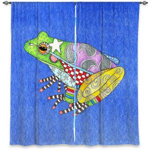 Decorative Window Treatments | Marley Ungaro - Frog Blue | Amphibian animal nature pattern abstract whimsical