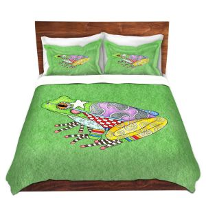 Artistic Duvet Covers and Shams Bedding | Marley Ungaro - Frog Green | Amphibian animal nature pattern abstract whimsical