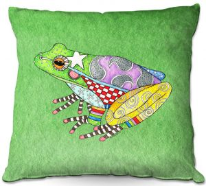 Decorative Outdoor Patio Pillow Cushion | Marley Ungaro - Frog Green | Amphibian animal nature pattern abstract whimsical