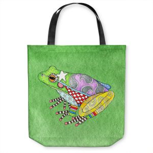Unique Shoulder Bag Tote Bags   Marley Ungaro - Frog Green   Amphibian animal nature pattern abstract whimsical