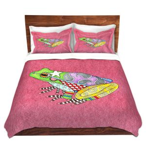 Artistic Duvet Covers and Shams Bedding | Marley Ungaro - Frog Pink | Amphibian animal nature pattern abstract whimsical