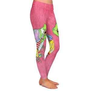 Casual Comfortable Leggings | Marley Ungaro - Frog Pink | Amphibian animal nature pattern abstract whimsical