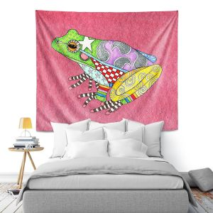 Artistic Wall Tapestry | Marley Ungaro - Frog Pink | Amphibian animal nature pattern abstract whimsical