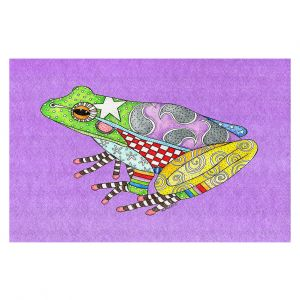 Decorative Floor Covering Mats | Marley Ungaro - Frog Violet | Amphibian animal nature pattern abstract whimsical