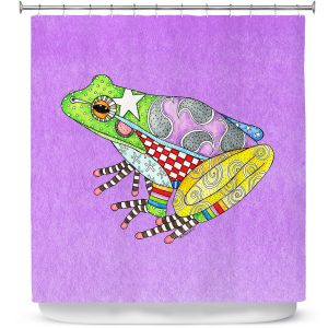Premium Shower Curtains | Marley Ungaro - Frog Violet | Amphibian animal nature pattern abstract whimsical