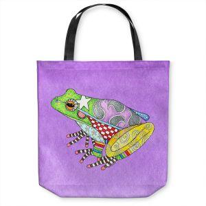 Unique Shoulder Bag Tote Bags | Marley Ungaro - Frog Violet | Amphibian animal nature pattern abstract whimsical