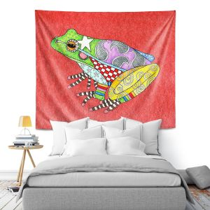 Artistic Wall Tapestry | Marley Ungaro - Frog Watermelon | Amphibian animal nature pattern abstract whimsical