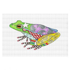 Decorative Floor Covering Mats | Marley Ungaro - Frog White | Amphibian animal nature pattern abstract whimsical