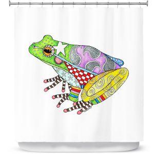 Premium Shower Curtains | Marley Ungaro - Frog White | Amphibian animal nature pattern abstract whimsical