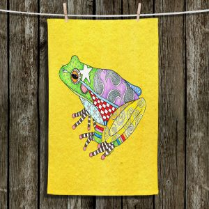 Unique Bathroom Towels | Marley Ungaro - Frog Yellow | Amphibian animal nature pattern abstract whimsical