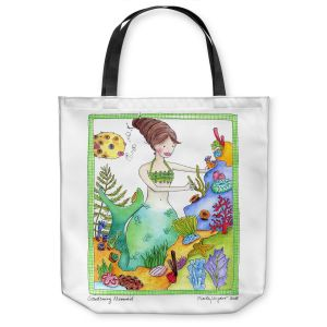 Unique Shoulder Bag Tote Bags | Marley Ungaro Gardening Mermaid