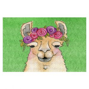 Decorative Floor Covering Mats | Marley Ungaro - Garland Llama Green | watercolor animal