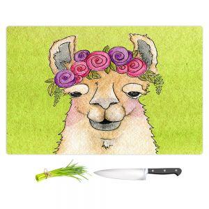 Artistic Kitchen Bar Cutting Boards | Marley Ungaro - Garland Llama Lime | watercolor animal